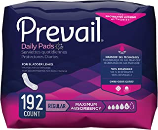 Prevail Maximum Absorbency Incontinence Bladder Control Pads, Regular, 48 Count (Pack of 4)