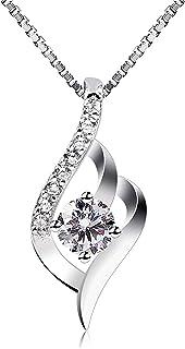 B.Catcher Femme Collier en Argent 925, Pendentif diamanté, La fête des mères, Cadeau parfait pour les fêtes, les anniversa...
