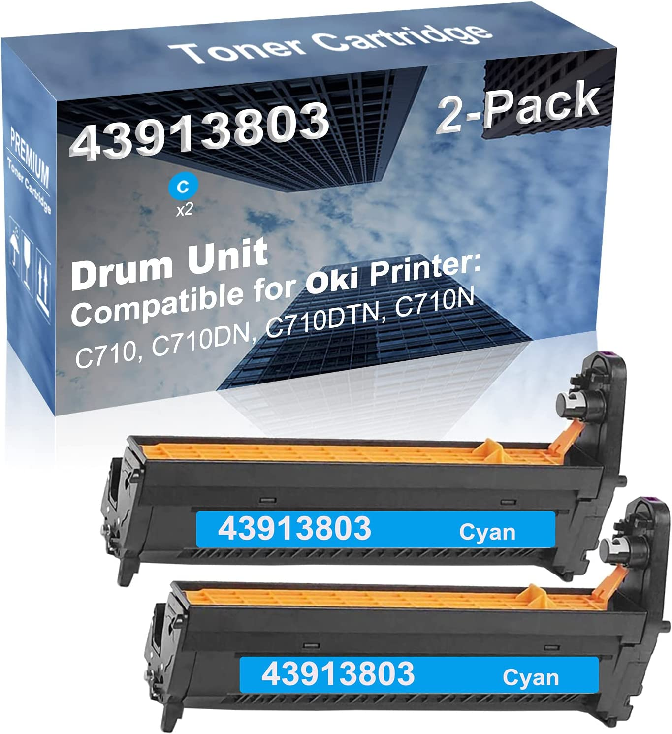 2-Pack (Cyan) Compatible C710, C710DN, C710DTN, C710N Printer Drum Kit High Capacity Replacement for Oki 43913803 Drum Unit