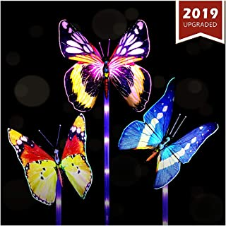 Solar Lights Outdoor - New Upgraded Solar Garden Lights, Multi-Color Changing Solar Butterfly Lights for Patio,Yard Decoration, Larger Solar Panel and Longer Working Time(3 Pack,Butterfly)