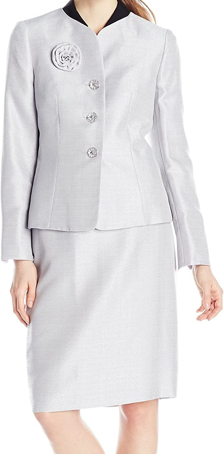 Le Suit Women's 3 Button Collarless Shimmer Jacket and Skirt Suit Set