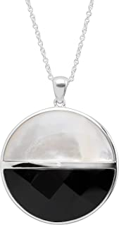 Silpada 'Knight Shift' Natural Agate & Mother-of-Pearl Pendant Necklace with Cubic Zirconia in Sterling Silver