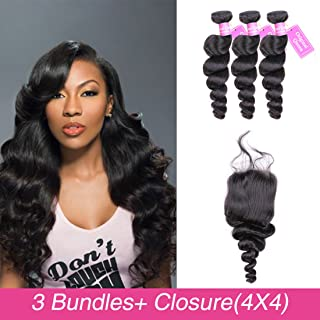 Original Queen Brazilian Loose Wave Virgin Hair 3 Bundles With Closure Loose Deep Weave Unprocessed Loose Weave 20 22 24inch With 18inches Free Part Closure