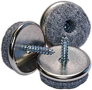haggiy Screw-In Felt Glides - Furniture Sliders - Nickel-Plated Ø 0.945
