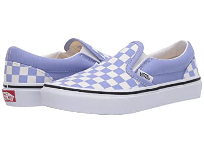 Vans Kids Classic Slip-On (Little Kid) ((Checkerboard) Pale Iris/True White) Girls Shoes