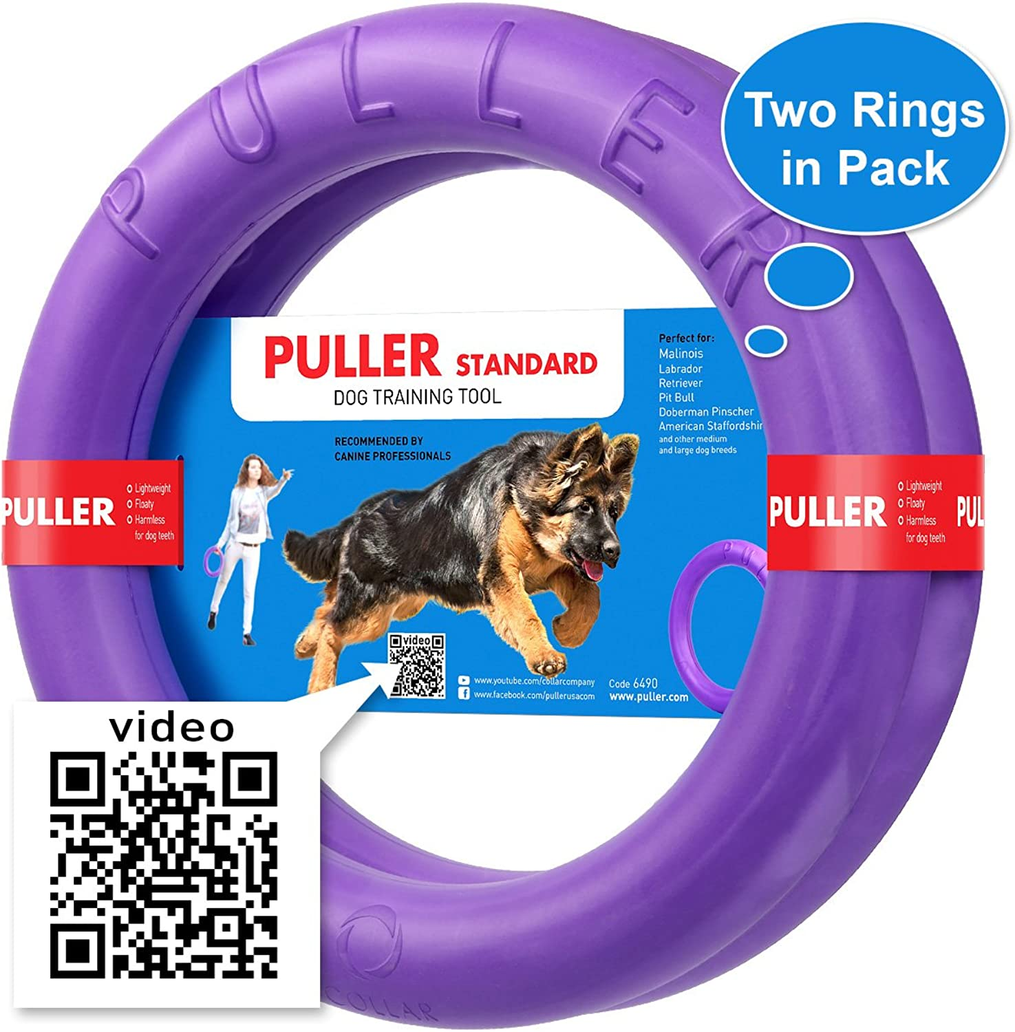 COLLARCOMPANY New Version 2018 Dog Training Equipment and Bonus  Large Medium K9 Dog Training tool  Dog Supplies  Real physical and emotional load your dog  Set 2 Rings by Puller Plus  Size 11.2 inches