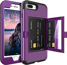 BENTOBEN iPhone 8 Plus Kickstand Case,iPhone 7 Plus Case,3 in 1 Heavy Duty Shockproof Protective Hybrid Hard Back Card Holder Soft TPU Bumper Girls Women iPhone 8 Plus/7 Plus Mirror Phone Cover,Purple