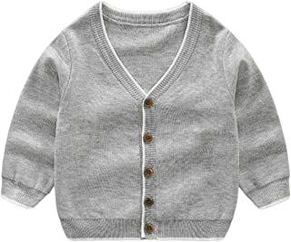 LittleSpring Boys Girls V-Neck Cardigan Sweater French Fries Embroidery