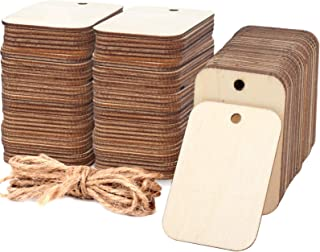 100 Pcs Unfinished Wood Pieces Rectangle-Shaped, Light Wooden Cutout Natural Rustic with Hole, and 2M Hemp Rope, for Craft...