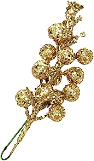 ( Pack of 12 ) Glittery Gold Artificial Berry Picks for Home Christmas Wreath Decor