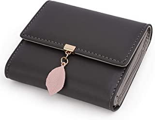 UTO Small Wallet for Women PU Leather Leaf Pendant Card Holder Organizer Girls Zipper Coin Purse