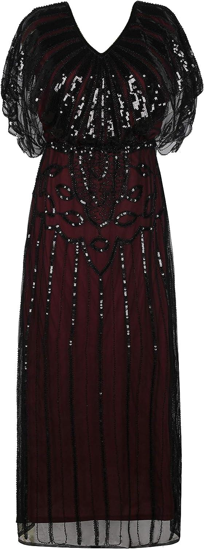 PrettyGuide Women Evening Gown 1920s Flapper Beaded Mermaid Long Formal Dress