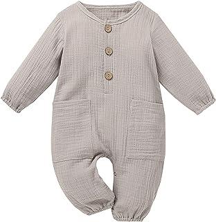 الوليد بيبي بوي فتاة القطن الكتان رومبير بذلة مع جيوب ملابس ملابس (Color : Gray, Size : 70)