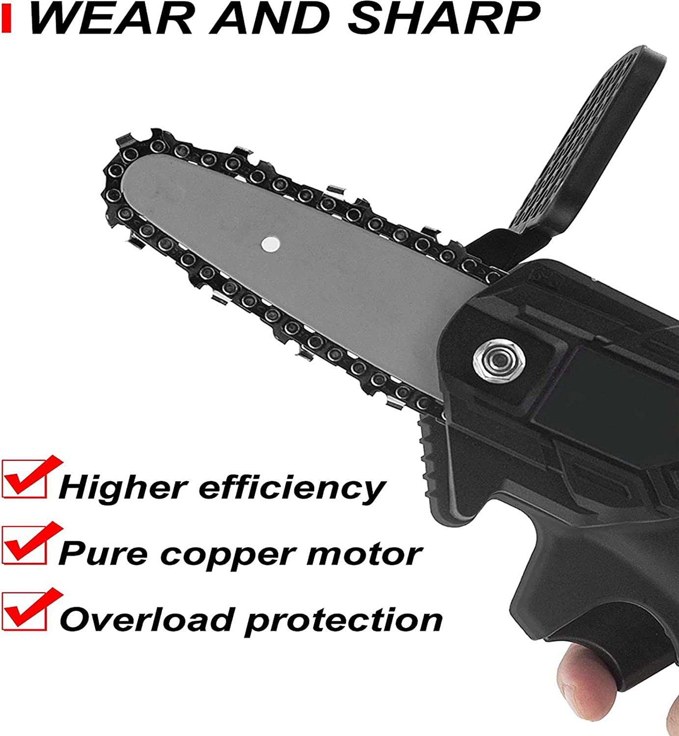 Portable 24V Electric Chainsaw Pruning Shears Chainsaw for Courtyard Tree Branch Wood Cutting with Spare Battery and Handy Case Bcamelys Mini Chainsaw 4-Inch Cordless Power Chain Saws