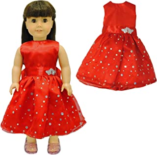 Pink Butterfly Closet Doll Clothes - Beautiful Red Dress with Dots Outfit Fits American Girl Doll and 18 inch Dolls