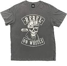 King Kerosin Original T-Shirt für Biker - Rebel on Wheels Skull - Cooles Biker-Shirt für Rockabillys und Motorradfahrer - schwarz