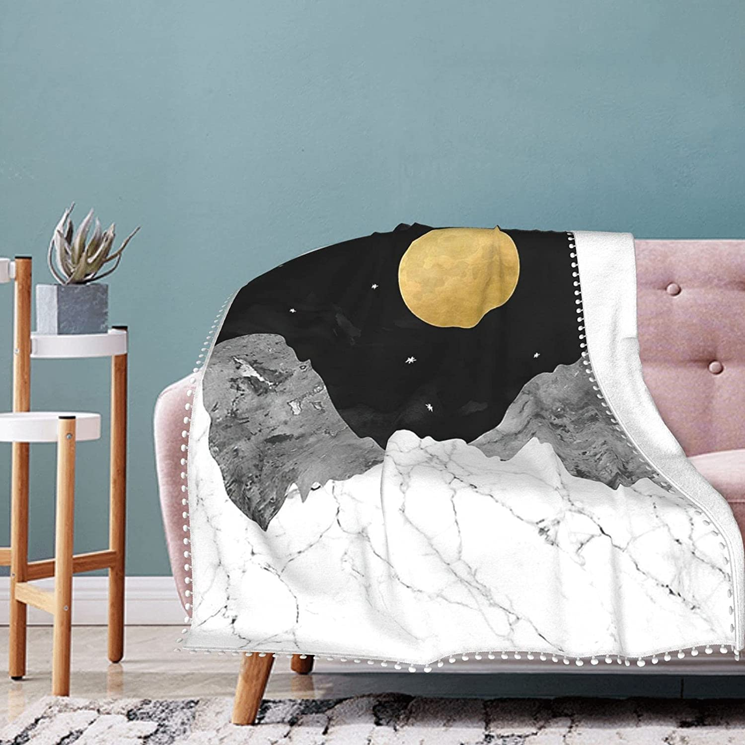 Recommended Night Sky Moon Blanket Pompom Fringe Air Bl Conditioning Be super welcome