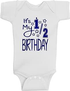 Reaxion Aiden's Corner - Handmade Baby Boy Half Birthday Bodysuits - It's My 1/2 Birthday