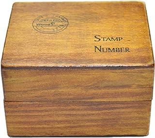 (サーカス) CURCUSレトロな木製ボックス入り スタンプ 英語 はんこ ダイアリー クリスマスカード ポストカード 用 スタンプインク台+巾着袋セット (活字体(数字+天気28個))