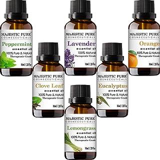 MAJESTIC PURE Aromatherapy Essential Oils Set, Includes Lavender, Peppermint, Lemongrass, Orange, Eucalyptus & Clove Oils ...