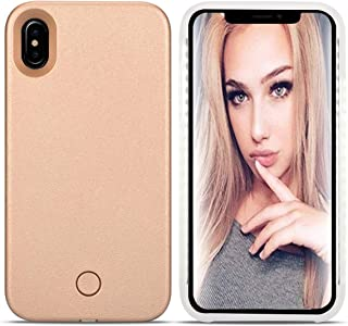 LONHEO iPhone Xs MAX Led Case iPhone Xs MAX Illuminated Cell Phone Case Great for a Bright Selfie and Facetime Light Up Case Cover for iPhone Xs MAX 6.5 inch -Rose Gold