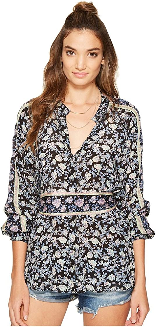 Free People Womens Crepe Floral Print Button-Down Top Black S