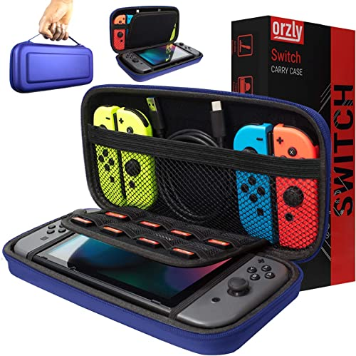 Orzly Carry Case Compatible with Nintendo Switch - Midnight Blue Protective Hard Portable Travel Carry Case Shell Pou...