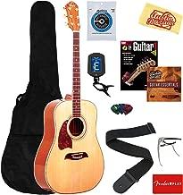 Oscar Schmidt OG2NLH-A-U Lefty Dreadnought Acoustic Guitar - Lefty Natural Bundle with Gig Bag, Strings, Tuner, Strap, Picks, Instructional Book, DVD, Capo, and Austin Bazaar Polishing Cloth