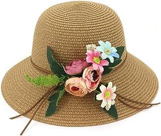 SHENTIANWEI Women's Summer Sun Protection Straw Hat Knit Wave Wide-brimmed Hat Cap Flower Fashion