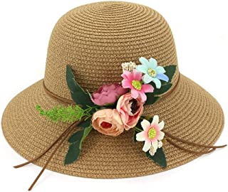 Summer hat Women's Summer Sun Protection Chaff Hat Knit Wave Wide-Brimmed Hat Cap Flower Fashion hat (Color : Coffee, Size : 56-58CM)
