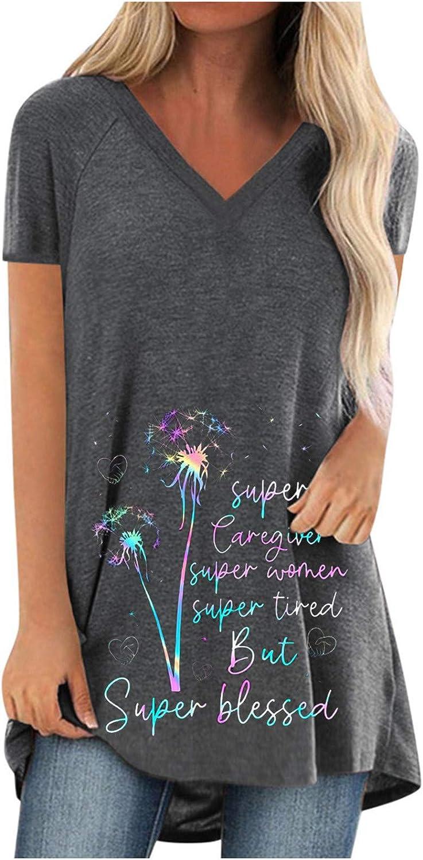 HUIHAIXIANGBAO Women T Shirts Sunflower 爆売り Casual V 絶品 Tuni Shirt Neck
