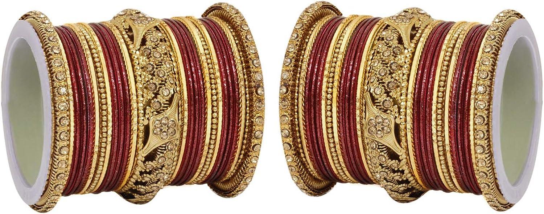 Ratna creation SANARA Ethnic Indian Bollywood Antique Gold Kada Women Traditional Bridal Wedding Wear Bangles Set Jewelry