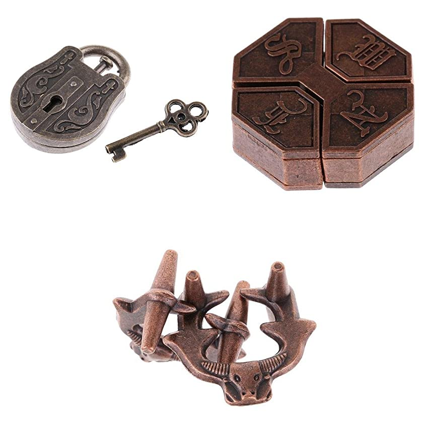 D DOLITY Children Educational Puzzles Vintage Locks Brain Teaser Toy Kids Fun Gifts