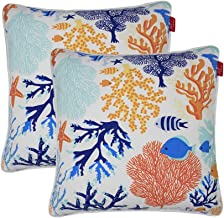 """Pcinfuns Outdoor Decorative Pillows with Insert Fish Throw Pillow Covers All Weather Patio Cushions 18"""" x 18"""" Set of 2"""