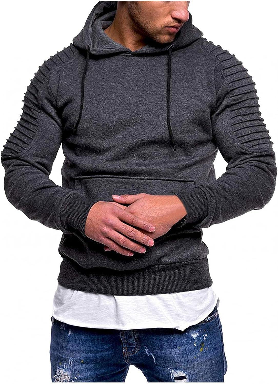 Hoodies for Men Men's Striped Pleated Raglan Long Sleeve Solid Color Hooded Pocket Top Fashion Hoodies And Sweatshirt Blouse