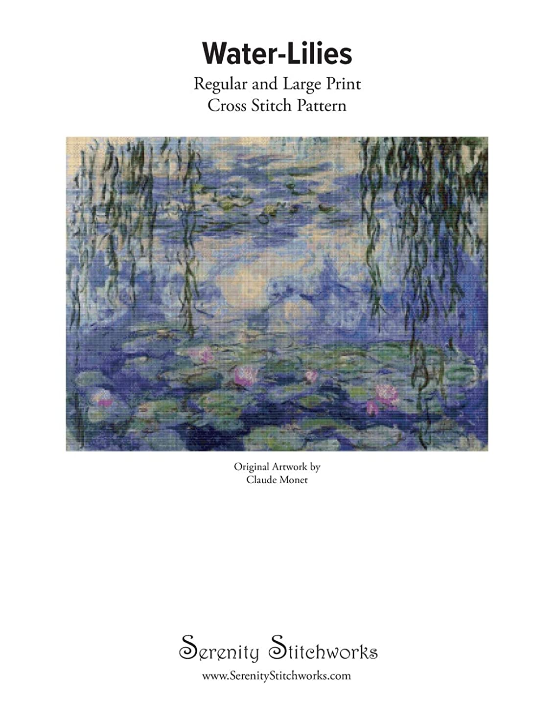 蜜急襲唯一Water-Lilies Cross Stitch Pattern - Claude Monet: Regular and Large Print Cross Stitch Pattern