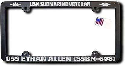 USN Submarine Vet USS ETHAN ALLEN (SSBN-608) Frame w/Metallic Silver Text & Dolphins