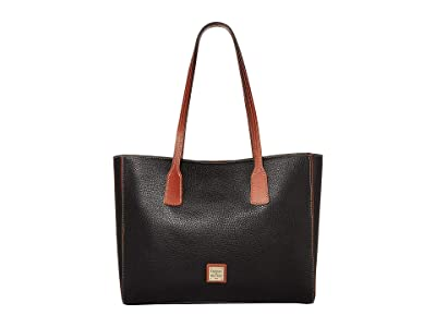Dooney & Bourke Pebble Ashton Tote (Black/Tan Trim) Handbags
