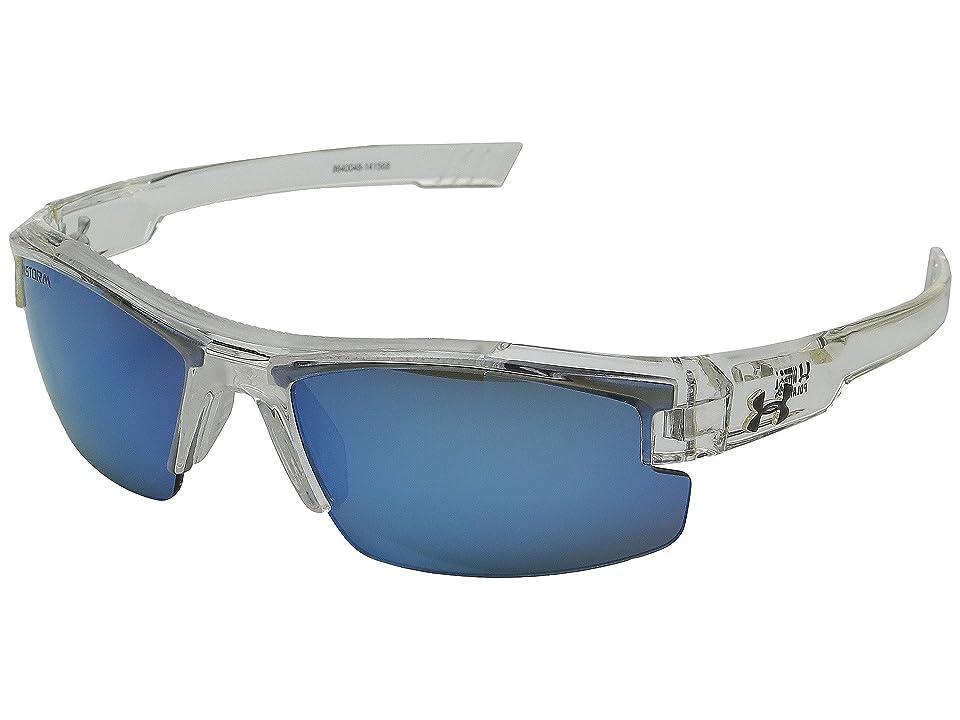 Under Armour Nitro L (Youth) (Storm Shiny Crystal Clear/Gray Polarized/Blue Mirror Lens) Sport Sunglasses
