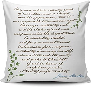 XIUBA Throw Pillow Covers Case Green and Aqua Turquoise Jane Austen's Pride Prejudice Quote Decorative Pillowcase Cushion Cover 20 x 20 inch Square Size Double-Sided Design Printed