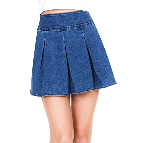 0915a28a9 Megan apparel Women's Stretchy Flared Casual Mini Skater Denim Skirt
