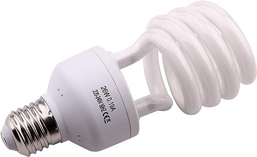 10.0 26W UVB Bombilla para Repti Desierto Bombilla Fluorescente Compacta para Anfibios Plantas Suculentas Lagarto Tor...