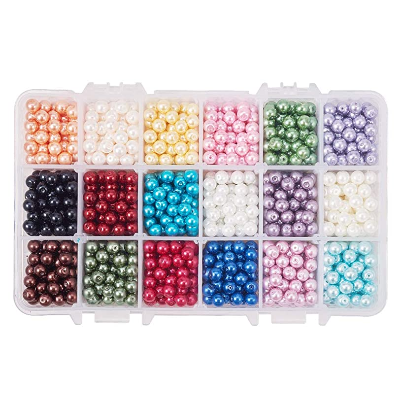 PH PandaHall About 1170pcs 18 Color 6mm Dyed Round Glass Pearl Beads Assortment Lot Pearlized Beads for Bracelet Necklace Jewelry Making