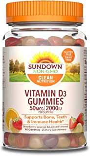 Vitamin D by Sundown, Supports Immune System, Bones and Teeth, D3 Gummies, Non-GMOˆ, Free of Gluten, Dairy, Artificial Fla...