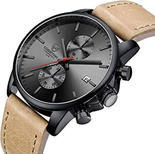 Men's Fashion Sport Quartz Watches with Leather Strap Waterproof Chronograph Watch, Auto Date in Blue/Red Hands, Color: Black, Brown