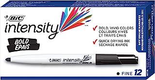 BIC Great Erase Bold Color Dry Erase Marker, Fine Point, Black Ink Colour, 12 Whiteboard Markers