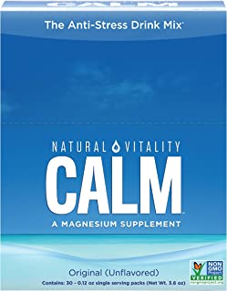 Natural Vitality Calm Magnesium Powder, Unflavored, 30 Packets (Package May Vary)