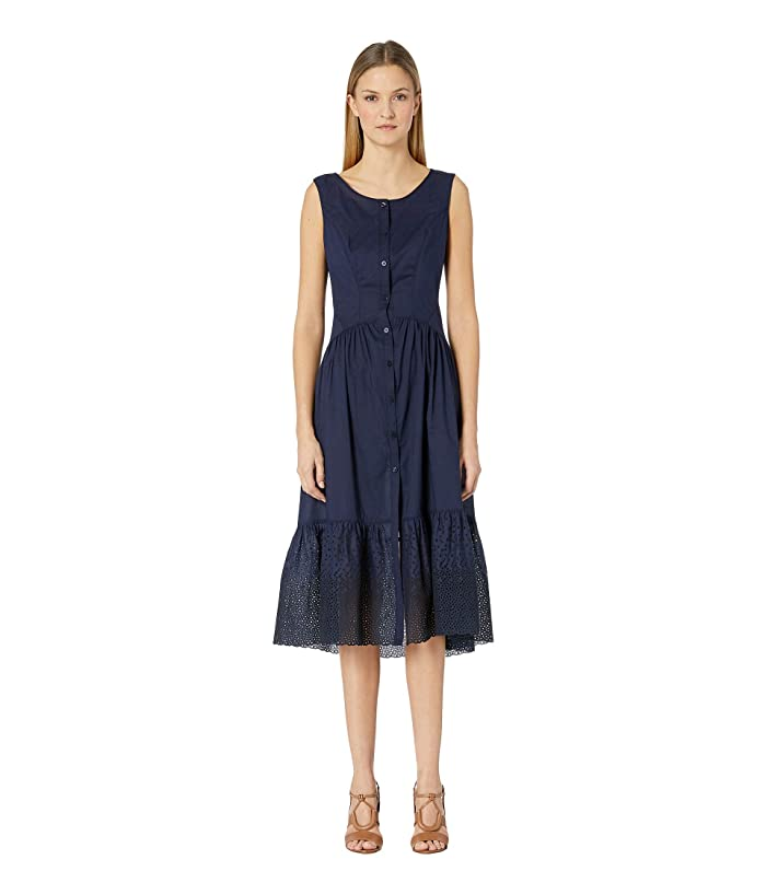 Zac Posen Cotton Eyelet Dress (Navy) Women's Dress