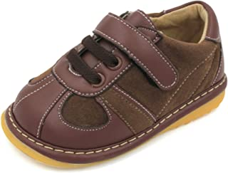 Little Mae's Boutique Brown Suede Toddler Boy Squeaky Shoes