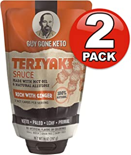 Guy Gone Keto Teriyaki Sauce   Infused with MTC Oil   Paleo Teriyaki Sauce   Low Carb Teriyaki Sauce   No Artificial Sweeteners   All Natural Allulose, Monkfruit & Stevia   14 oz. (2 Pack)